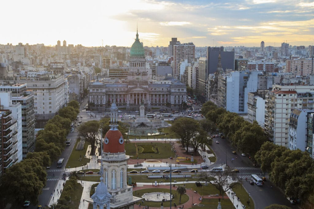 The sunsets over the Congress building in Buenos Aires