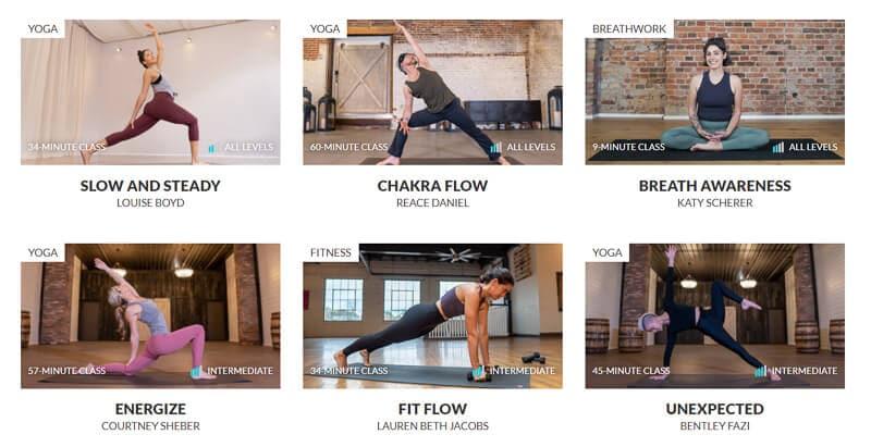 A screenshot of an online yoga classes platform