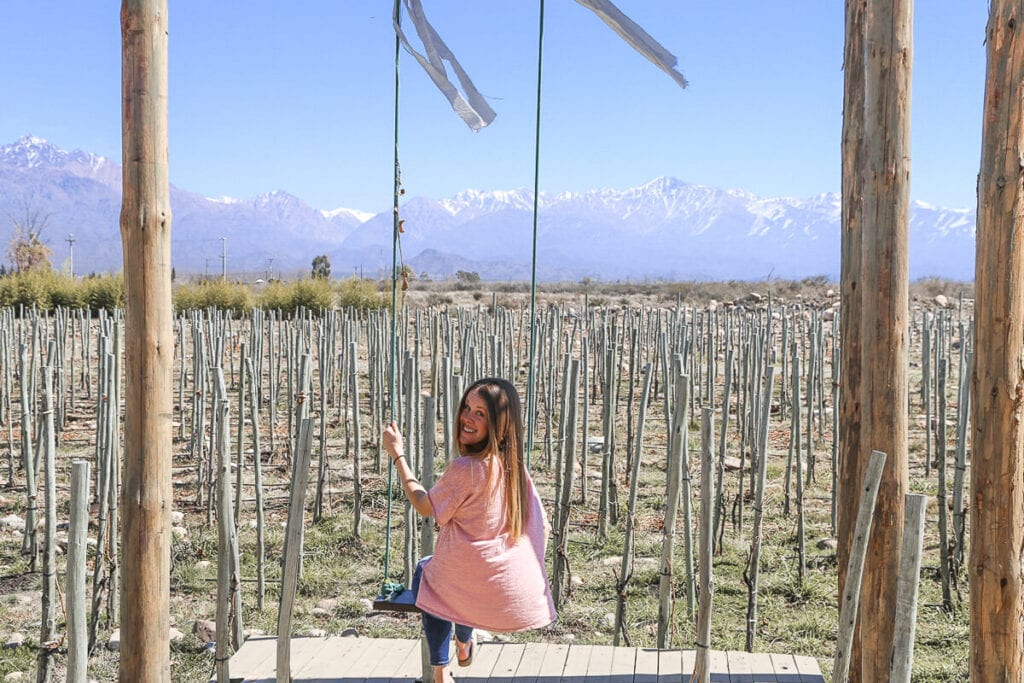 A woman sits on a swing in a pink t-shirt in front of a vineyard