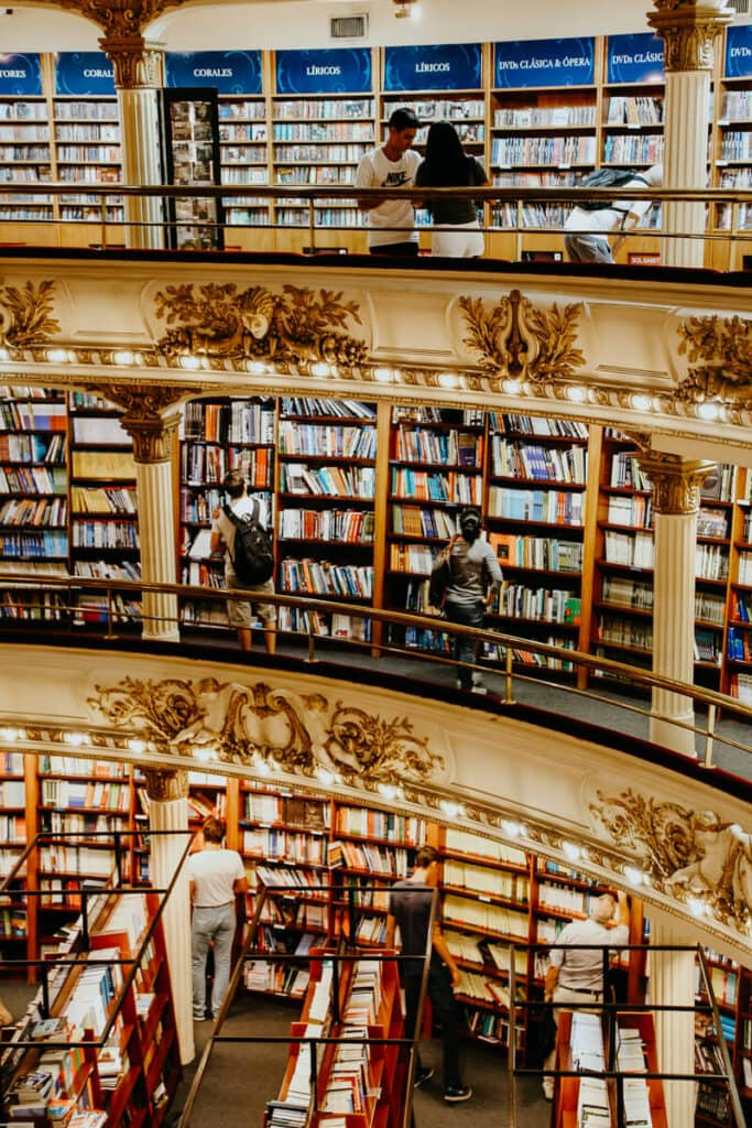 A three storied bookstore in an old theater with ornate details
