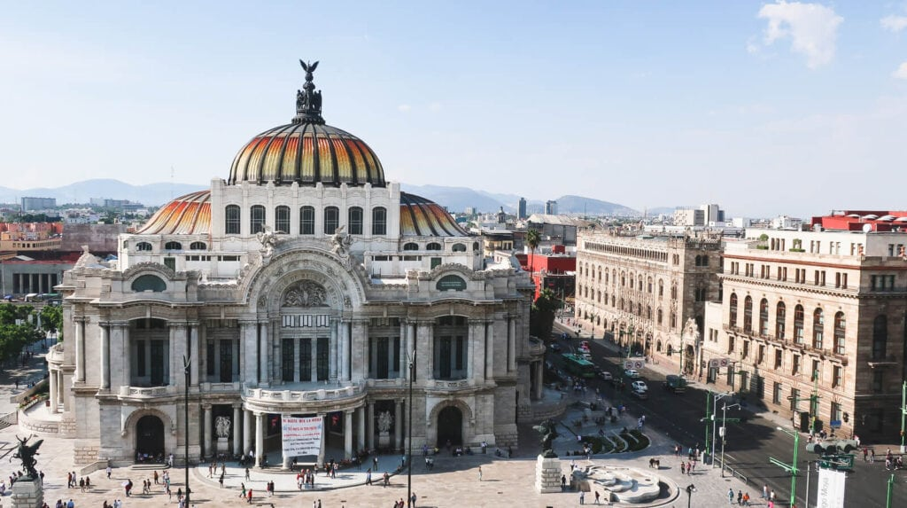 A large opera house seen from above in downtown Mexico City
