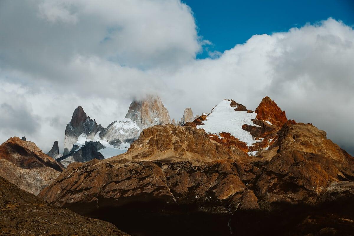 Clouds cover Mount Fitz Roy in El Chalten