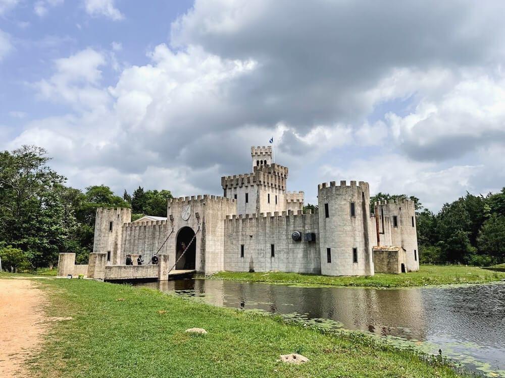 A moat surrounds a castle